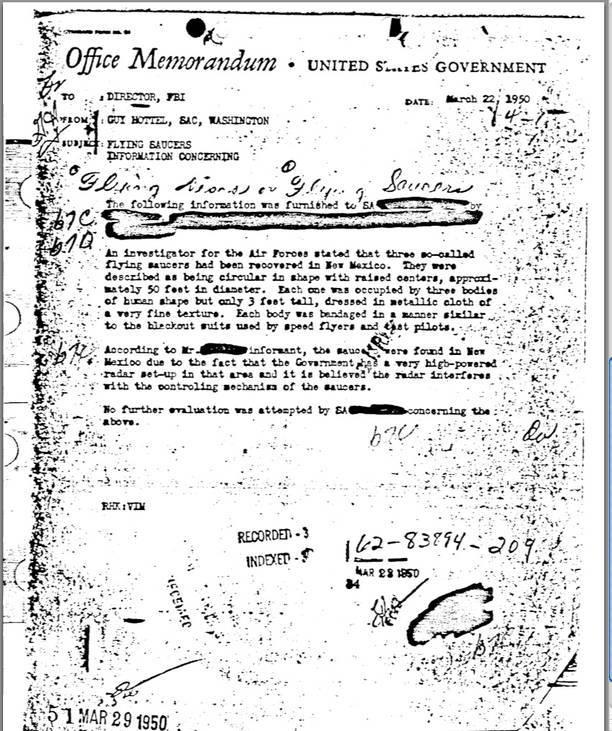Un document al FBI din 1950