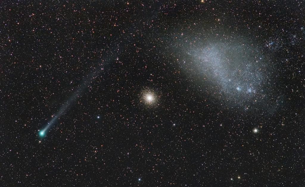 Cosmic Alignment: Comet Lemmon, GC 47 Tucanae and the SMC