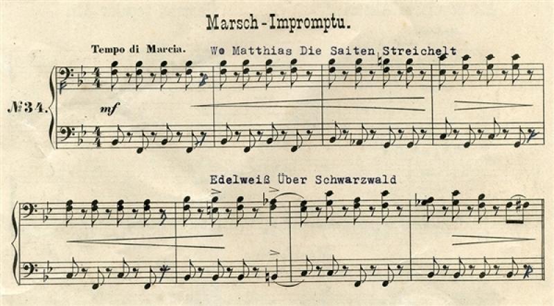 """Partitura piesei """"March Impromptu"""", creată de compozitorul Gottfried Federlein"""