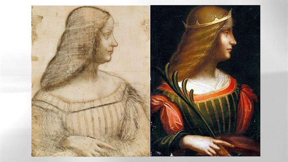 În stânga, desenul pregătitor de la Luvru. În dreapta, portretul descoperit de curând