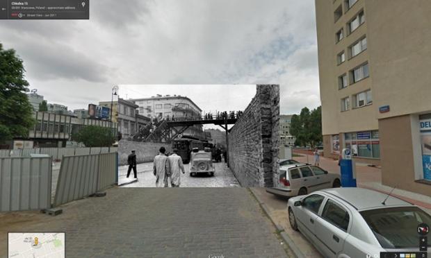 Podul care lega două zone ale ghettoului din Varşovia, în anul 1942