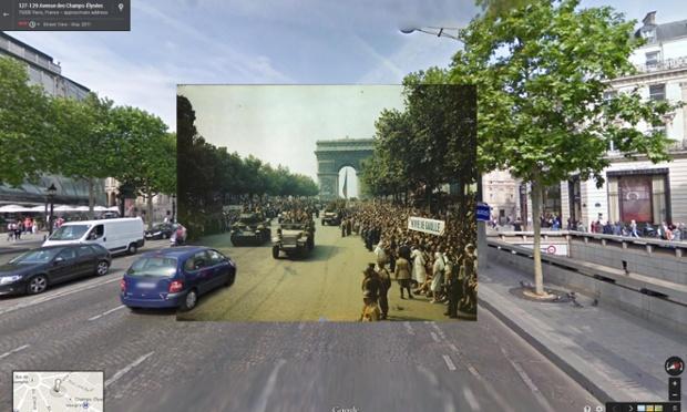 Eliberare Parisului, mulţimea se bucură pe Champs-Elysees, august 1944