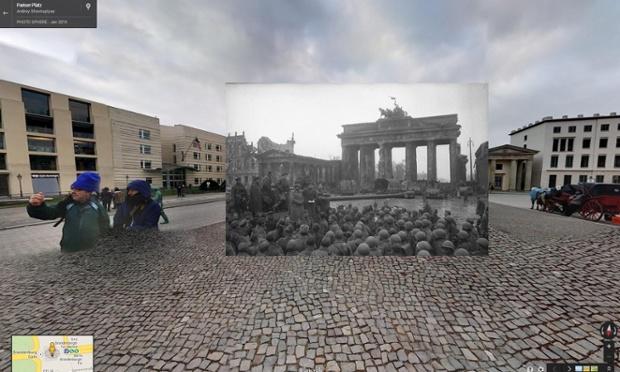 Soldaţi ruşi la Poarta Brandenburg, Berlin, 1945