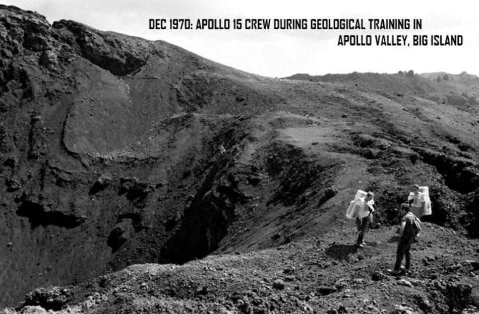 Decembrie 1970: astronauţii fac o călătorie de explorări geologice pe Insula Mare a Arhipelagului Hawaii.