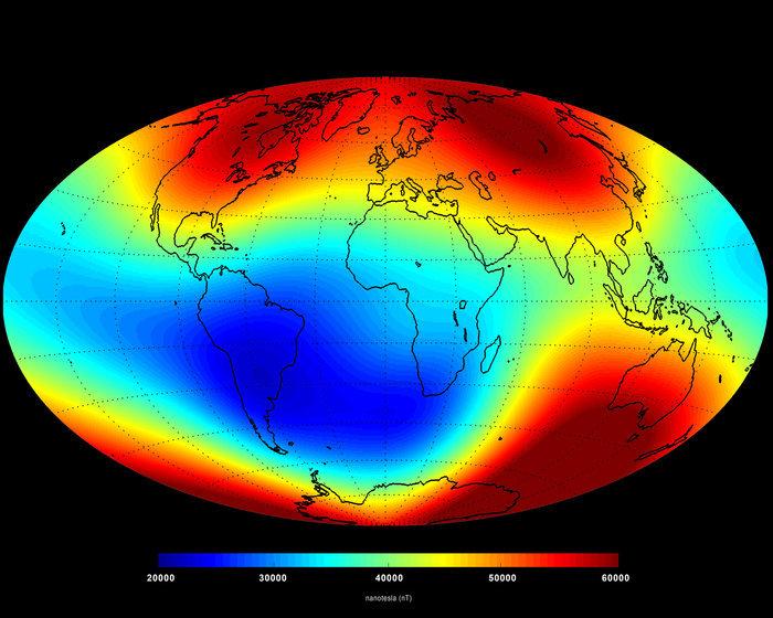 Câmpul magnetic al planetei, măsurat în iunie 2014