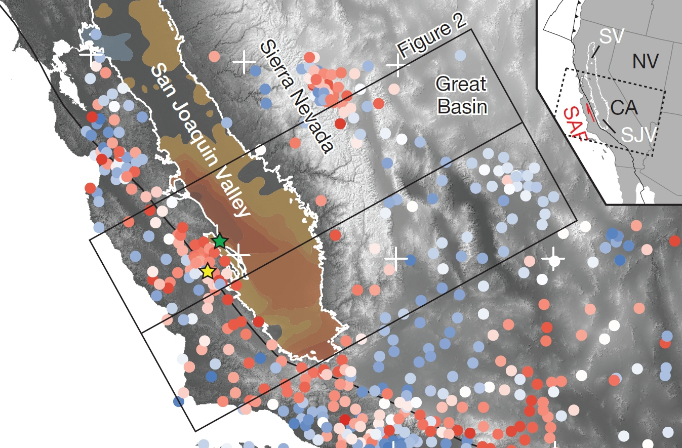 Punctele roşii indică locurile în care solul s-a ridicat, iar cele albastre locurile în care acesta s-a lăsat