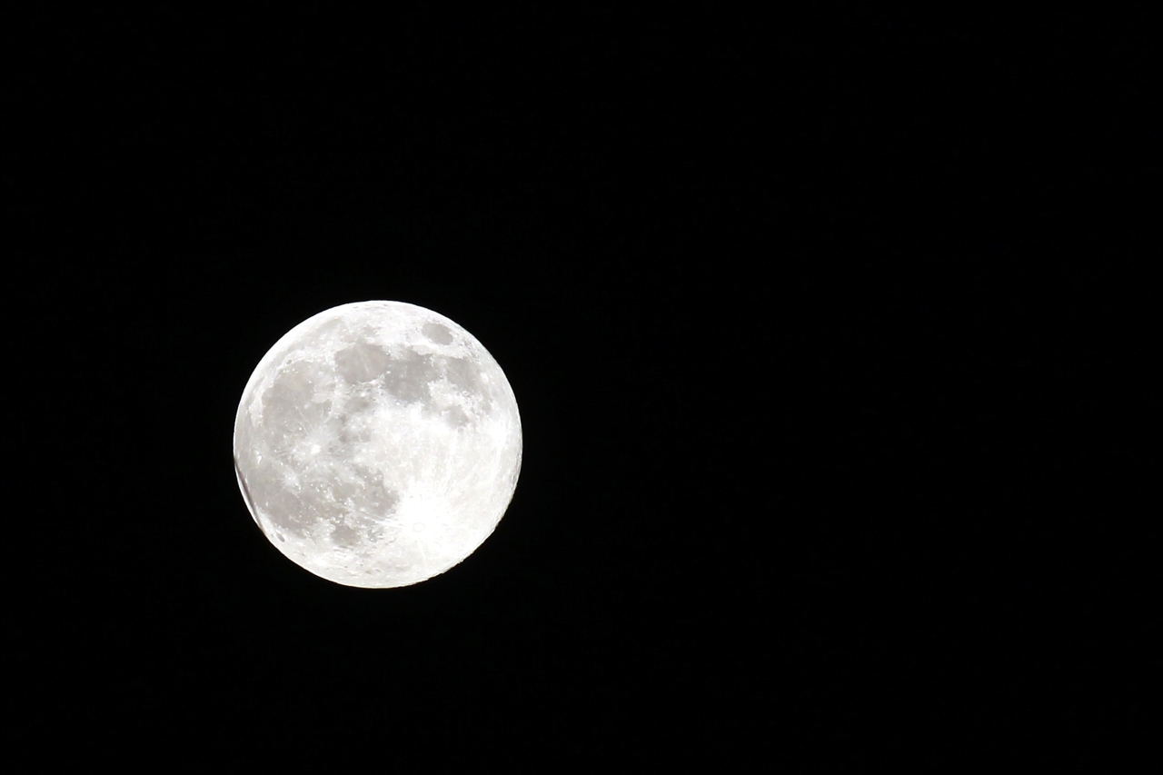 Imagine cu luna plina, in Timisoara, duminica, 10 august 2014. Super Luna