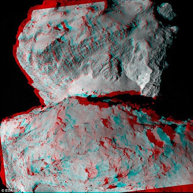 """Imagine 3D a cometei 67P/Churyumov-Gerasimenko; poate fi văzută """"în relief"""" cu ajutorul unor ochelari stereoscopici cu filtre roşii şi verzi/albastre."""