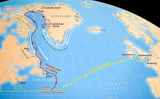 Traseul urmat de Titanic şi de gheţarul de care acesta s-a ciocnit