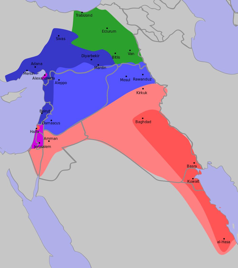 Cu albastru, ocupaţia franceză. Cu roşu, cea britanică. Cu verde, cea rusă. Culoarea violet desemnează zonele internaţionale