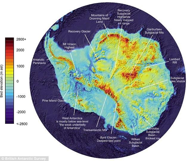 Harta care arată formele de relief de sub gheaţa din Antarctica