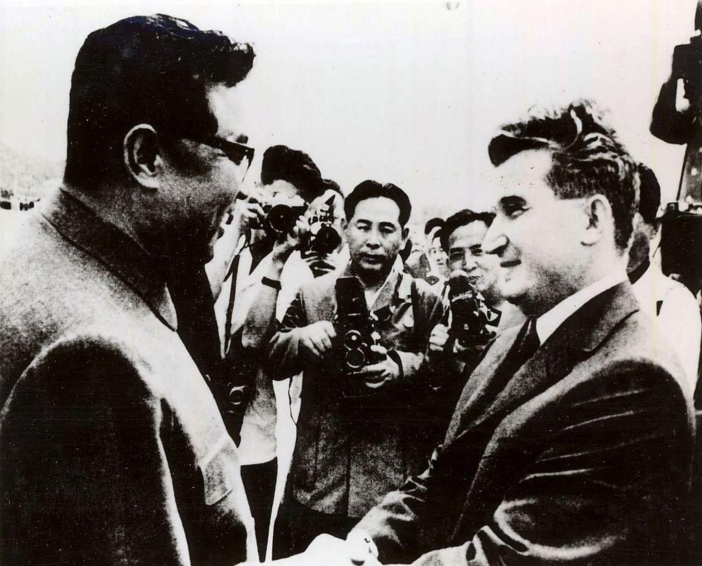Kim Il-sung alături de Nicolae Ceauşescu, în 1971