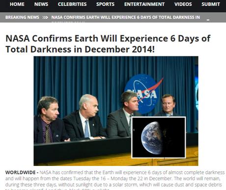 Site-ul care a lansat ştirea falsă despre NASA