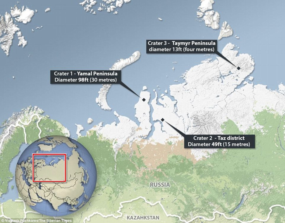 Harta locurilor în care au apărut craterele din Siberia