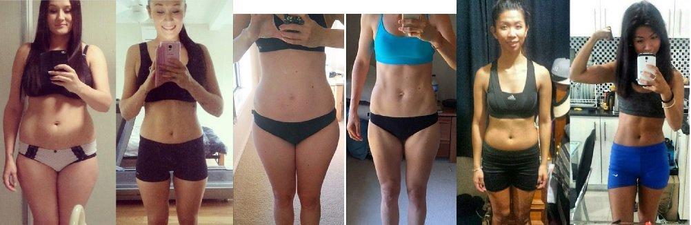 Fotografii ale clientelor, înainte şi după programul de antrenament