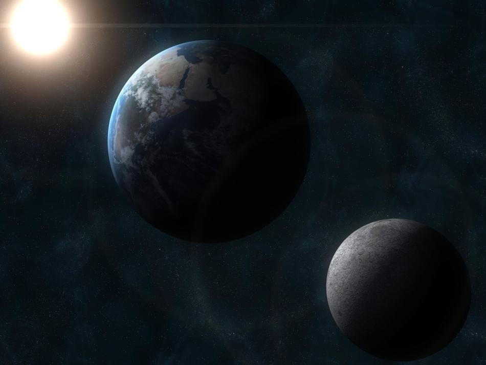 Soarele, Terra, Luna: pe satelitul natural al Terrei nu există viaţă, dar pe sateliţii naturali ai altor planete acesta ar putea fi prezentă, în forme pe care încă nu ni le imaginăm.
