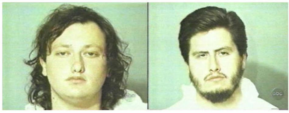 Emil Mătăsăreanu (stânga) şi Larry Philips (dreapta), fotografiaţi de poliţia americană după primul lor jaf.