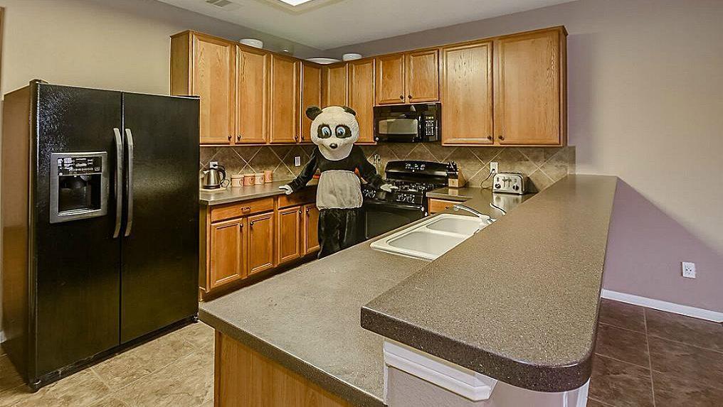 O femeie se îmbracă în Panda pentru a vinde o casă